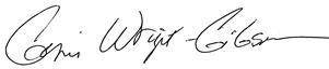 DBSS's Guild President, Gerri Wright Signature